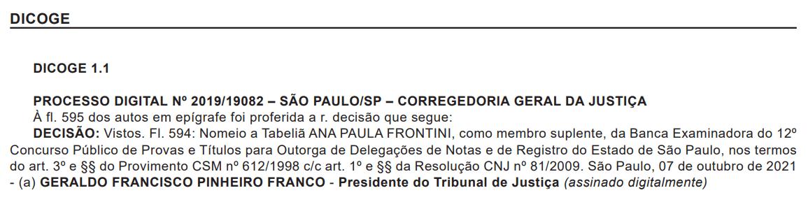 Concurso TJ SP Cartórios: membro suplente.